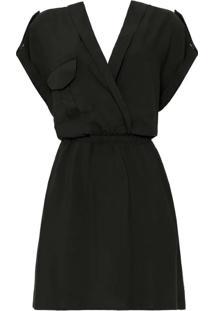 Vestido Transpassado Com Bolso Preto Reativo - Lez A Lez
