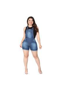 Macacão Jardineira Jeans Curta Rasgada Feminina Macaquinho Com Regulador Azul Escuro Stone Used