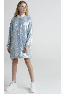 Jaqueta Longa Feminina Mindset Com Paetês Transparentes Estampada Floral Azul Claro