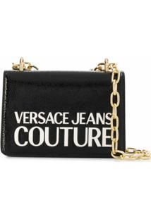 Versace Jeans Couture Bolsa Tiracolo Com Logo Gravado - Preto