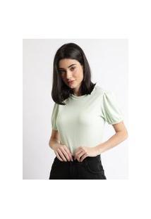 Blusa Feminina Texturizada Manga Bufante Decote Redondo Verde Claro