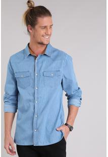 Camisa Jeans Masculina Com Recortes Em Suede Manga Longa Azul Claro