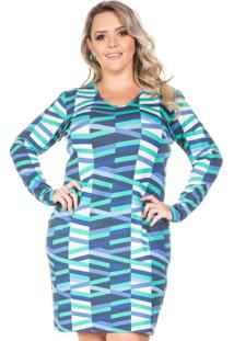 Vestido Mediterrâneo Azul Plus Size