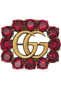 Gucci Broche Com Cristais - Vermelho