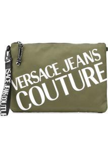 Versace Jeans Couture Clutch Com Logo Contrastante - Verde