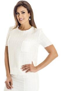 Blusa Tweed Ana Hickmann - Feminino-Branco