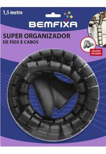 Super Organizador De Cabos & Fios- Preto- Ø2,2X150Cmbem Fixa