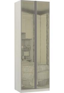 Guarda Roupa Modulado 2 Portas Emolduradas Espelhos Reflecta 1 Maleiro 3 Gavetas 80Cm Prime Luciane Móveis Legno Crema