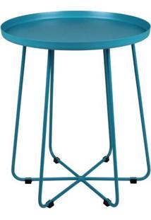 Mesa Apoio Trevo Em Aco Carbono Cor Azul Turquesa 40 Cm (Larg) - 40487 - Sun House