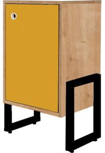 Mesa De Cabeceira Wooli 1 Porta Natura/Amarelo - Fit Mobel