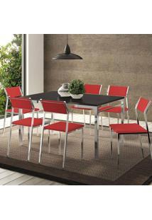 Mesa 1526 Preta Cromada Com 6 Cadeiras 1709 Vermelho Real Carraro