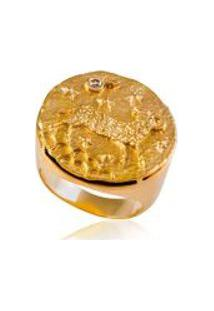 Anel Zodiaco Aries Amarelo C/ Diamante Chocolate - 17