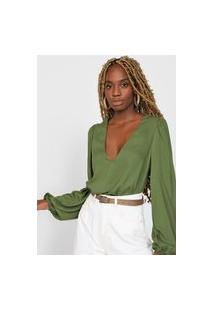 Blusa Colcci Pregas Verde