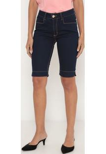 Bermuda Jeans Com Bolsos - Azul Escuro- Lança Perfumlança Perfume