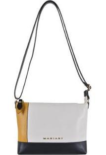 Bolsa Transversal Couro Mariart 5502 - Feminino-Off White+Preto