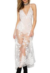 Vestido Bordado Com Renda Saia Transparente C/Body