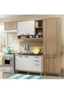 Cozinha Completa Multimóveis Com 5 Peças Sicília 5838 Argila/Branco