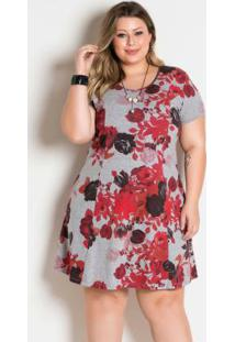 Vestido Floral Vermelho Plus Size