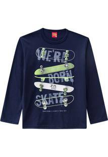 "Camiseta ""We'Re Born To Skate""- Azul Marinho & Verde Clakyly"