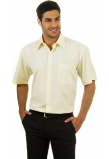 Camisa Social Masculina Amarela Lisa - 001