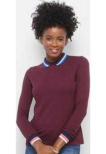 Camisa Polo Lacoste Manga Longa Detalhes Listrados Feminina - Feminino -Vinho+Azul 9ed1405b92627