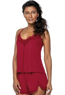 Baby Doll Floral Lace Vermelho