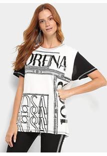 Camiseta Morena Rosa Estampada Feminina - Feminino-Off White+Preto