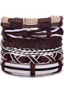 Bracelete 5 Em 1 Pulseira Artestore Em Couro Marrom E Branca - Tricae