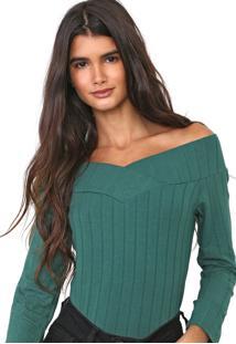 Blusa Cativa Ombro A Ombro Canelada Verde
