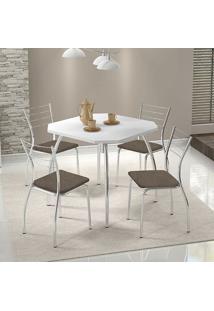 Mesa 1504 Branca Cromada Com 4 Cadeiras 1700 Camurça Conhaque Carraro