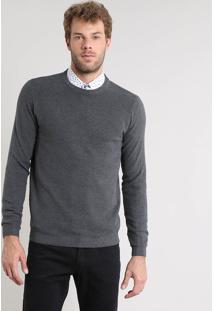 Suéter Masculino Slim Fit Texturizado Em Tricô Cinza Mescla Escuro
