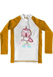 Camiseta De Lycra Comfy Unicórnio Amarela