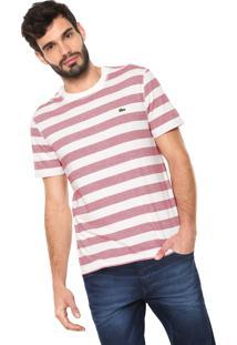 Camiseta Lacoste Reta Listras Off-White/Vermelha