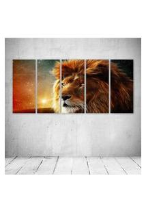 Quadro Decorativo - King Lion Face - Composto De 5 Quadros