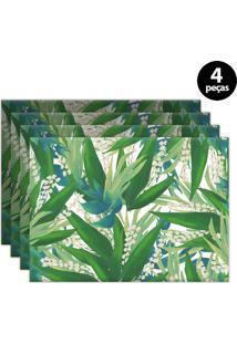 Jogo Americano Mdecore Floral 40X28Cm Verde 4Pçs