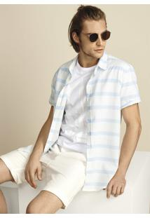 Camisa Masculina Slim Em Tecido De Fio Tinto