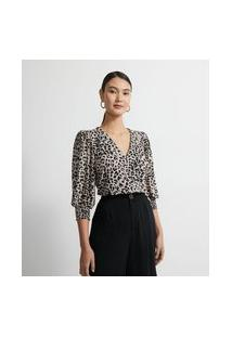 Camisa Em Jersey Com Manga Bufante E Estampa Animal Print | Cortelle | Bege | Gg