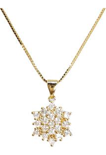 Corrente Kumbayá Com Pingente Flor Banho De Ouro 18K Cristal Com Corrente Veneziana