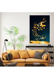Quadro 67X50Cm Izar Borboleta Douradas Moldura Branca Com Vidro