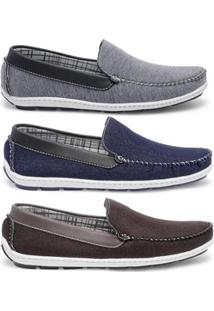 Kit Mocassim Casual Style Prime Shoes Masculino - Masculino-Cinza