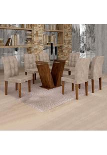 Conjunto De Mesa De Jantar Classic Com 6 Cadeiras Vitória Veludo Chocolate