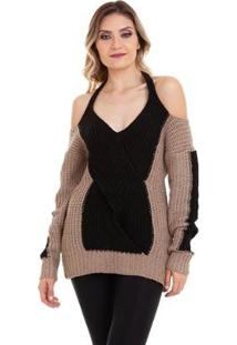 Suéter Kinara Tricot Mousse Ombro De Fora Feminino - Feminino-Bege