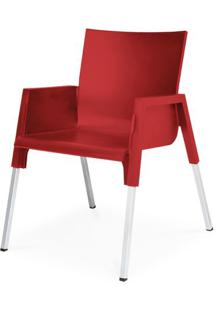 Cadeira Milao Em Polipropileno Vermelho Com Pes Aluminio - 48009 - Sun House