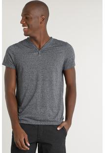 Camiseta Masculina Slim Fit Com Botões Manga Curta Gola V Cinza Mescla Escuro