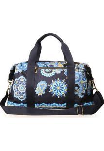 Bolsa Mala Blue Bags Estampa Mandala Feminina - Feminino-Azul