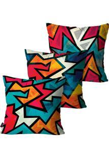 Kit Com 3 Capas Para Almofadas Pump Up Decorativas Azul Geometric Collors 45X45Cm - Azul - Dafiti