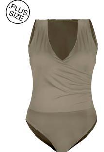 Body Outlet Dri Poliamida Plus Size Lycra Alça Grossa Sobreposto Faixa Nude