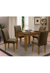 Sala De Jantar Saint Michel Com 4 Cadeiras – Dobuê Movelaria - Mell / Preto / Cacau
