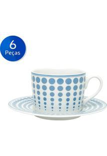 Conjunto De Xícaras Para Chá Com Pires 6 Peças 200 Ml Dots-Bon Gourmet - Azul