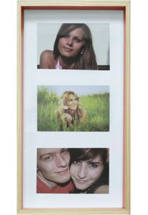 Quadro Para Fotos Wood Natural E Laranja 20X40Cm
